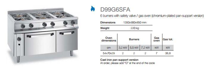 Gas range D99G6SFA-info