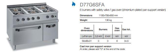 Gas range d77g6sfa